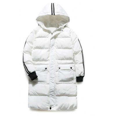 Contrast Stripe Rib Cuff Zip Up Hooded Padded Coat