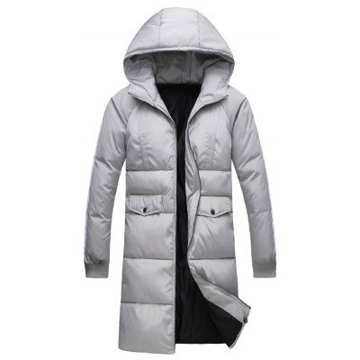 Rib Cuff Button Pocket Hooded Padded Coat