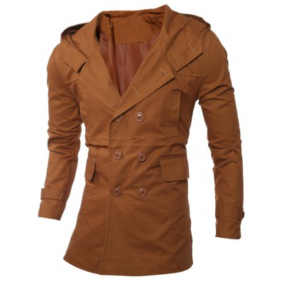 Hooded Double-Breasted Lengthen Coat