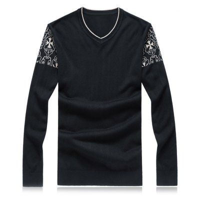 V-Neck Crucifix Knit Long Sleeve Plus Size Sweater