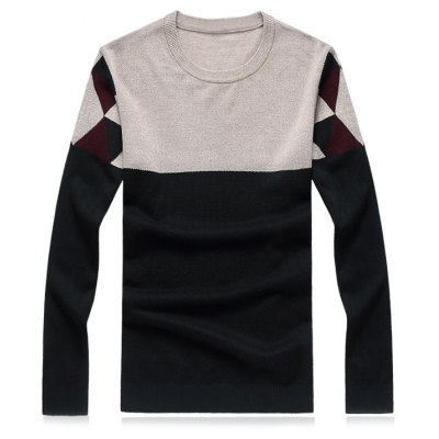 Crew Neck Geometric Color Block Splicing Plus Size Sweater