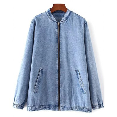 Bleach Wash Denim Bomber Jacket