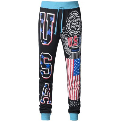 Flag Pattern Printed Drawstring Contrast Color Jogger Pants