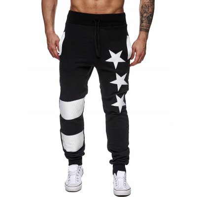 Star Printed Spliced Drawstring Waist Jogger Pants