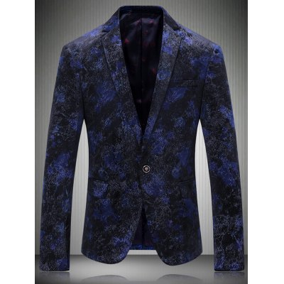 Notch Lapel Texture One-Button Blazer
