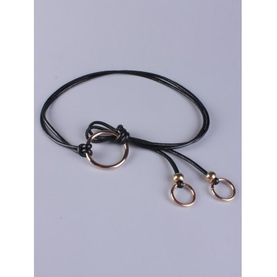 Adjustable PU Leather Skinny Belt with Metal Rings