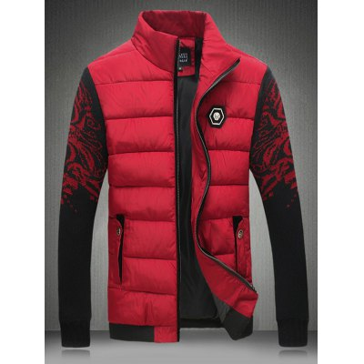 Knitted Sleeves Zipper Padded Jacket