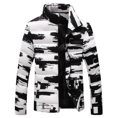 Stand Collar Zippered Texture Padded Jacket