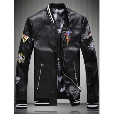 Embroidered Patch Faux Leather Jacket