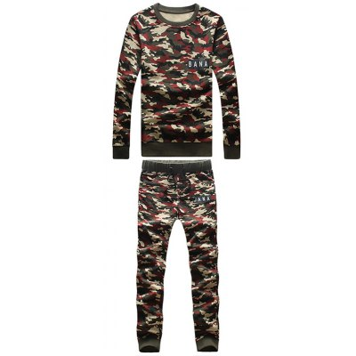Camouflage Style Round Neck Letters Print Sweatshirt and Pants