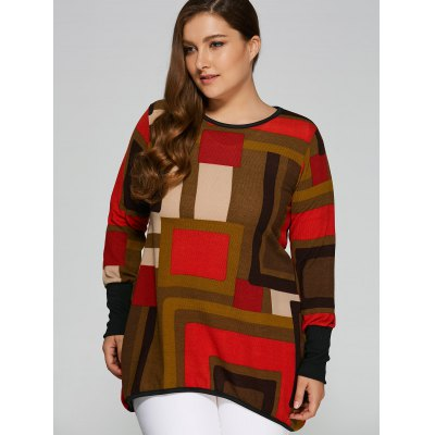 Loose Long Checked Knitwear