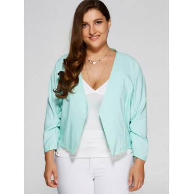 Plus Size Open Front Crop Jacket
