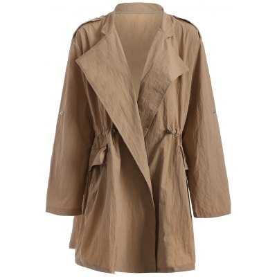 Plus Size Drawstring Trench Coat with Pocket