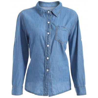 Plus Size Chambray Shirt with Pocket