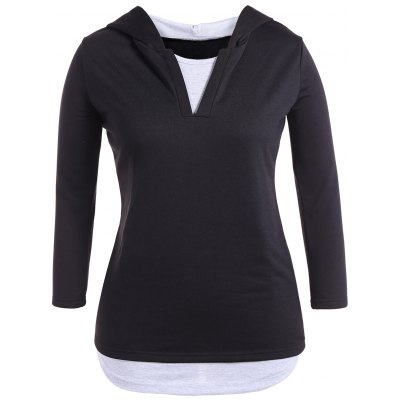 Hooded Color Block Casual Dress