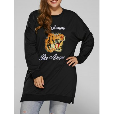 Tiger Embroidered Plus Size Sweatshirt Dress