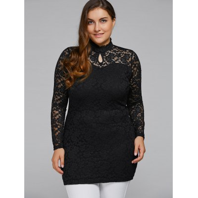Ruffled High Collar Plus Size Lace Bodycon Dress