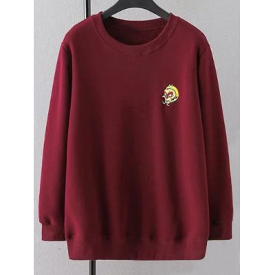 Crew Neck Plus Size Embroidered Sweatshirt