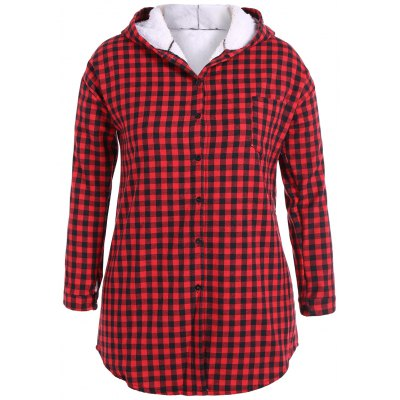Checked Buttoned Hoodie