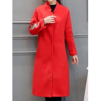 Stand Neck Embroidered Wool Blend Long Coat
