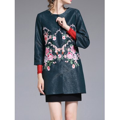 Collarless Floral Embroidered Coat