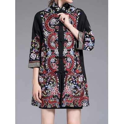 Stand Collar Embroidered Coat with Frog Buttons