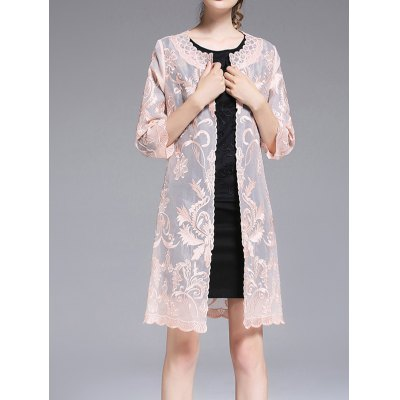 See Through Embroidered Collarless Coat