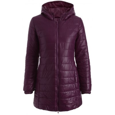 Hooded Zip-Up Quilted Coat