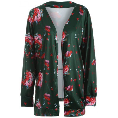 Floral Collarless Open Front Coat