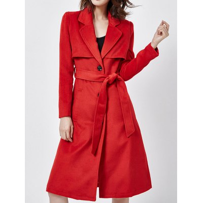 Lapel Collar Belted Wool Blend Coat