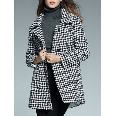 Houndstooth Double Breasted Coat