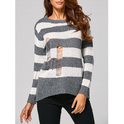 Distressed Striped Ribbed Sweater