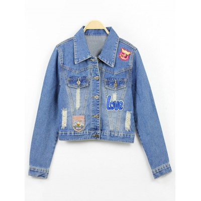 Badge Spliced Ripped Cropped Denim Jacket