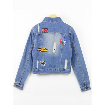 Ripped Cropped Denim Jacket With Patches