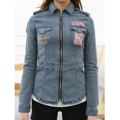 Letter Embroidered Patched Fit Denim Jacket
