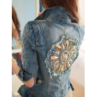 Retro Back  Metallic Rivet Denim Jacket