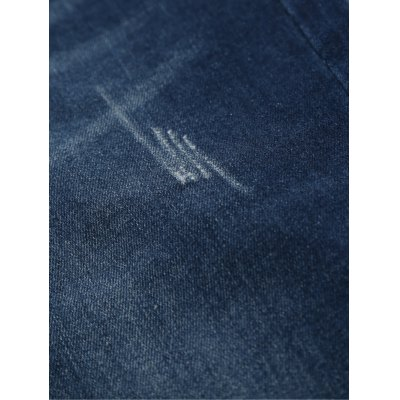 Straight Leg Zipper Fly Scratched Five-Pocket Jeans