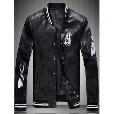 Embroidered Striped Rib Faux Leather Jacket