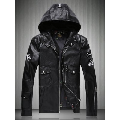 Patch Design Zippered Hooded Faux Leather Jacket