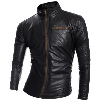 Zip Pocket Faux Leather Jacket
