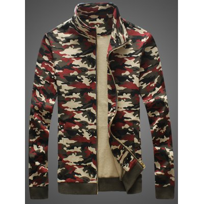 Zip-Up Camouflage Stand Collar Jacket
