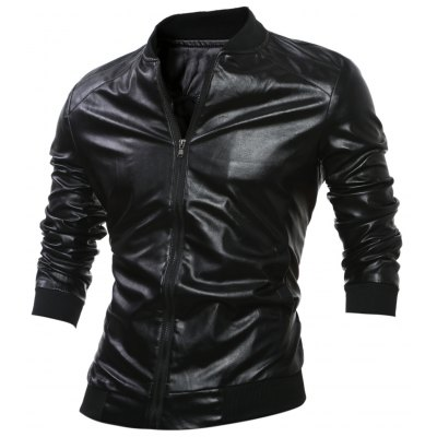 Stand Collar Rib-Hem Zip Up Faux Leather Jacket
