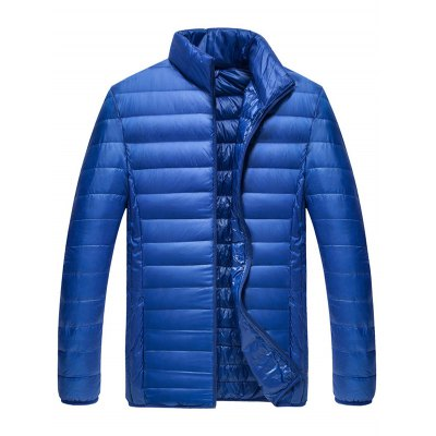Zipped Stand Collar Down Jacket