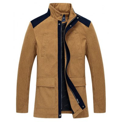 Stand Collar Zip-Up Color Splicing Jacket