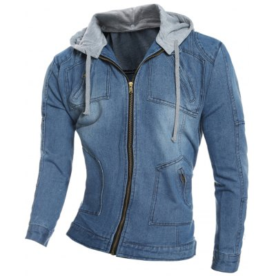 Zip Pocket Hooded Denim Jacket