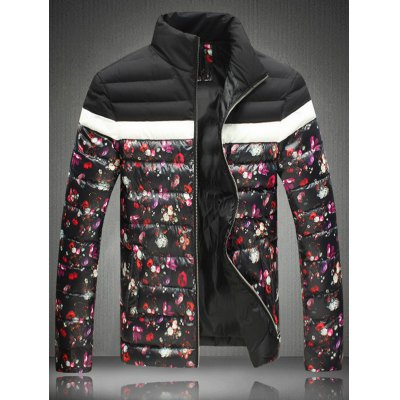 Floral Print Zip-Up Stand Collar Padded Jacket