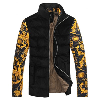 Floral Print Color Spliced Stand Collar Padded Jacket