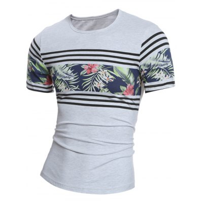 Crew Neck Stripe and Floral Print Short Sleeve T-Shirt