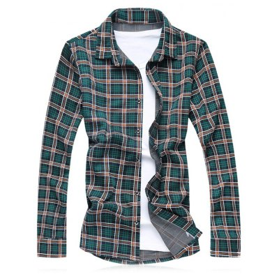 Turn-Down Collar Plus Size Checked Long Sleeve Shirt