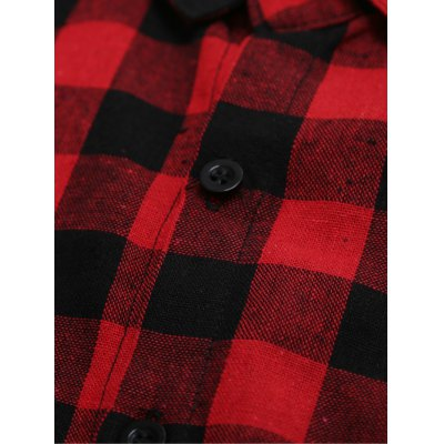 Long Sleeve Breast Pocket Button Up Plaid Shirt